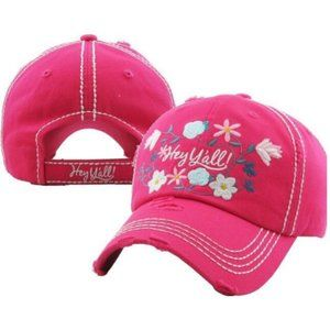Hey Yall Distressed Hot Pink Baseball Hat